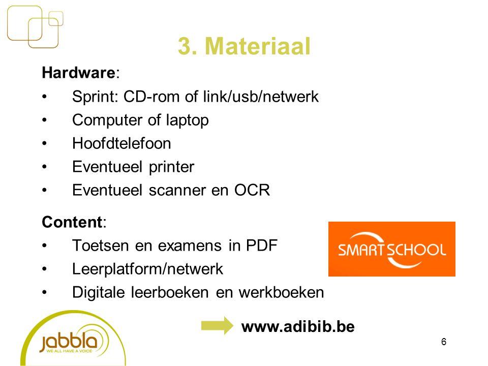 3. Materiaal Hardware: Sprint: CD-rom of link/usb/netwerk Computer of laptop Hoofdtelefoon Eventueel printer Eventueel scanner en OCR Content: Toetsen