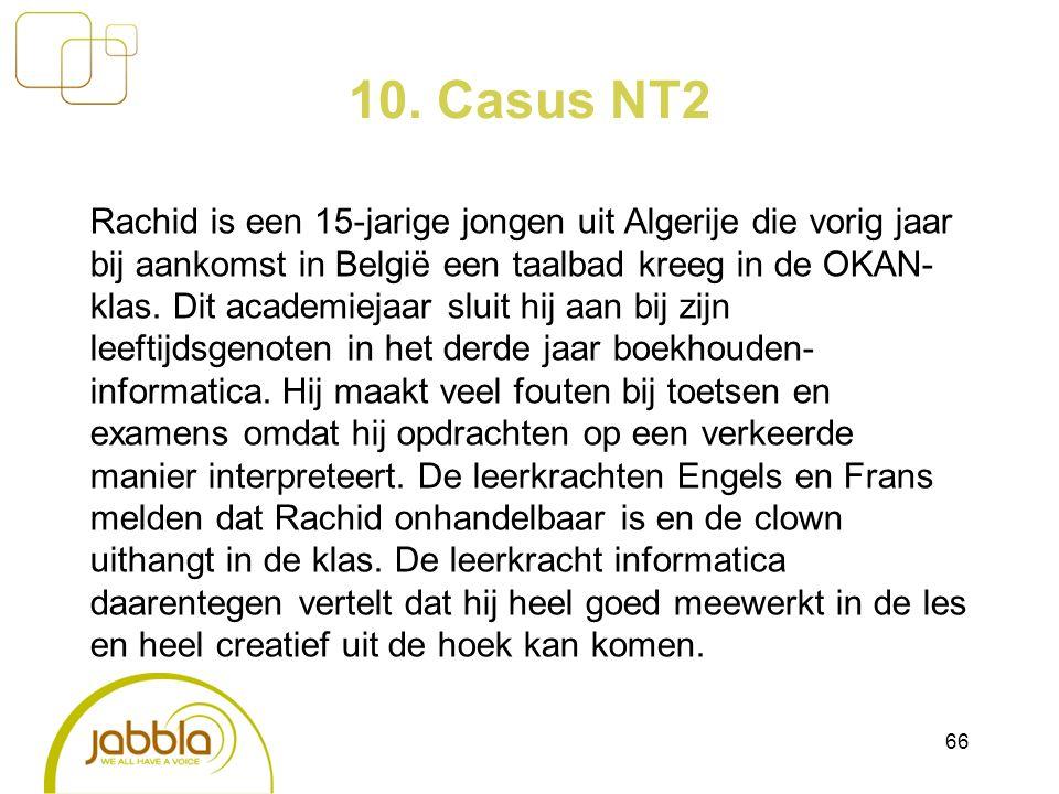 10. Casus NT2 Rachid is een 15-jarige jongen uit Algerije die vorig jaar bij aankomst in België een taalbad kreeg in de OKAN- klas. Dit academiejaar s