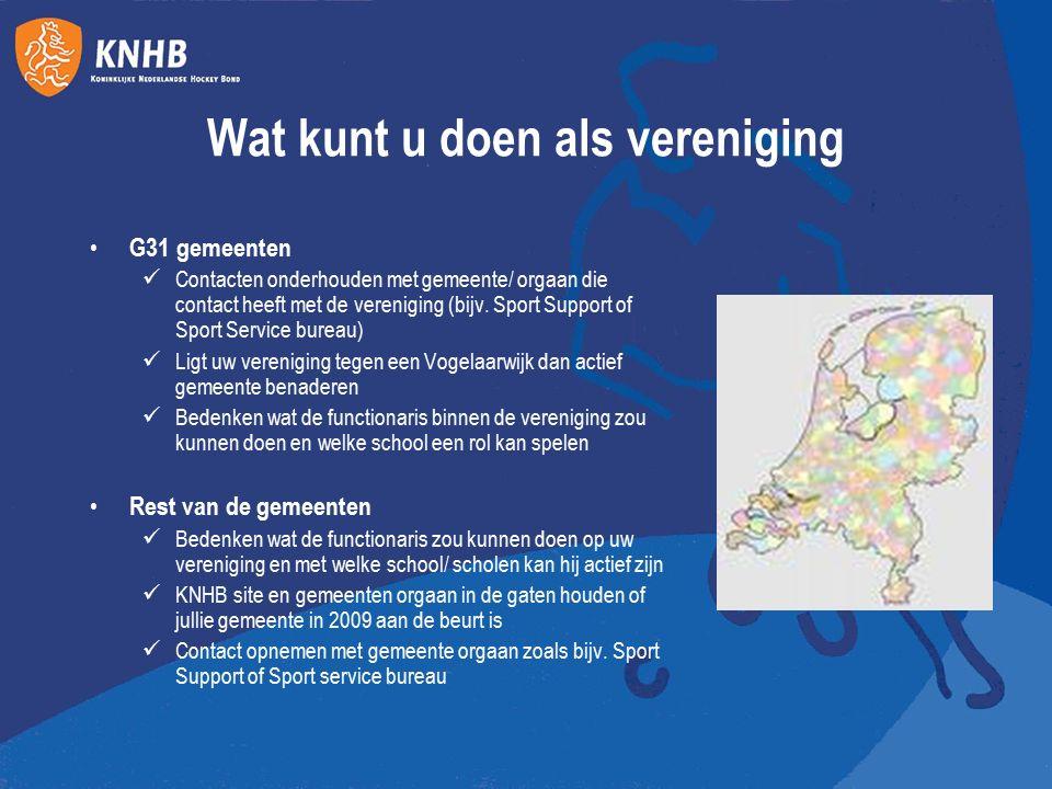 Rol van de KNHB Nu actief beleid met Rotterdamse verenigingen – doen ervaring op voor andere gemeenten Samen met NOC*NSF aan het kijken wat er mogelijk is in de G31 Verenigingen uit de G31 informeren over regeling en mogelijkheden Ondersteuning bieden in gesprekken met gemeenten Indien nodig inhoudelijke ondersteuning geven Voor vragen kunt u terecht bij kara.meijer@knhb.nlkara.meijer@knhb.nl