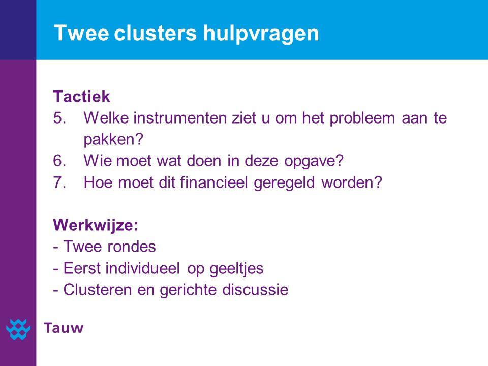 Twee clusters hulpvragen Tactiek 5. Welke instrumenten ziet u om het probleem aan te pakken.