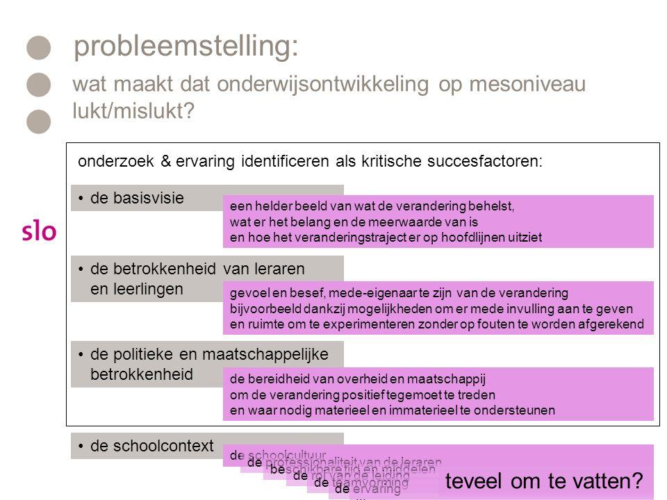probleemstelling: wat maakt dat onderwijsontwikkeling op mesoniveau lukt/mislukt.