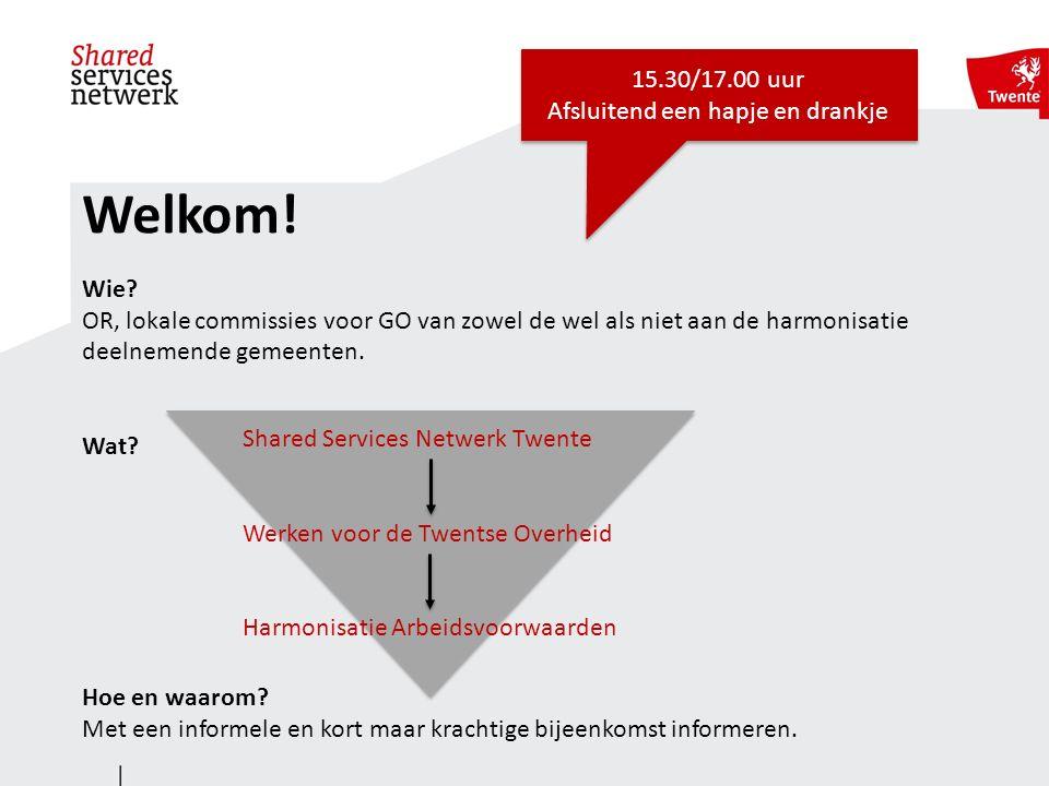 Shared Services Netwerk Twente Faciliteert samenwerking op het gebied van bedrijfsvoering processen Focus op 'De 4 K's': Kansen, Kwaliteit, Kwetsbaarheid en Kosten Gestart in 2012 Bestuurlijk geaccordeerd in februari 2013 met het 'Communiqué van Zenderen'