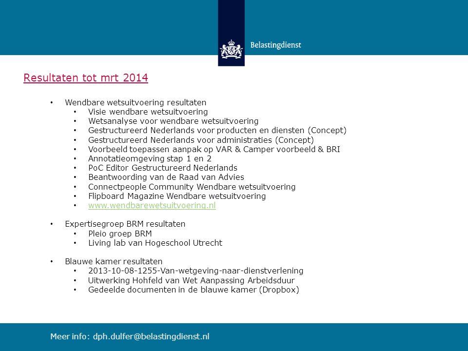 Resultaten tot mrt 2014 Wendbare wetsuitvoering resultaten Visie wendbare wetsuitvoering Wetsanalyse voor wendbare wetsuitvoering Gestructureerd Nederlands voor producten en diensten (Concept) Gestructureerd Nederlands voor administraties (Concept) Voorbeeld toepassen aanpak op VAR & Camper voorbeeld & BRI Annotatieomgeving stap 1 en 2 PoC Editor Gestructureerd Nederlands Beantwoording van de Raad van Advies Connectpeople Community Wendbare wetsuitvoering Flipboard Magazine Wendbare wetsuitvoering www.wendbarewetsuitvoering.nl Expertisegroep BRM resultaten Pleio groep BRM Living lab van Hogeschool Utrecht Blauwe kamer resultaten 2013-10-08-1255-Van-wetgeving-naar-dienstverlening Uitwerking Hohfeld van Wet Aanpassing Arbeidsduur Gedeelde documenten in de blauwe kamer (Dropbox) Meer info: dph.dulfer@belastingdienst.nl