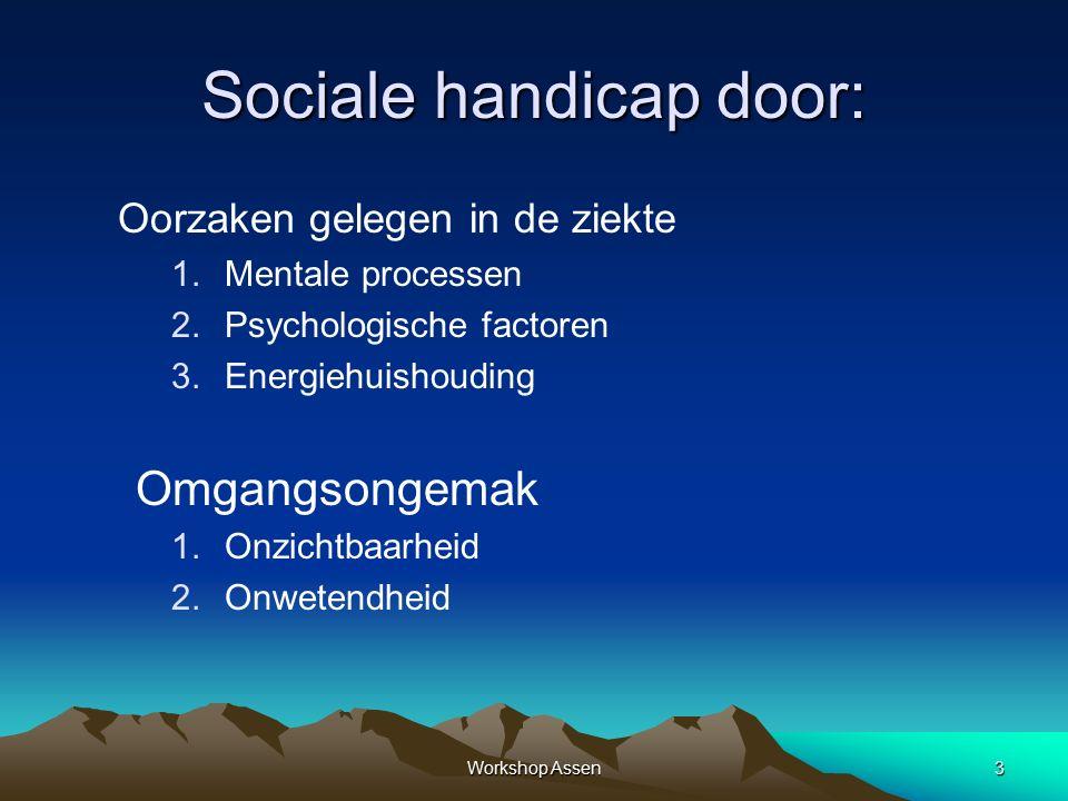 3 Sociale handicap door: Oorzaken gelegen in de ziekte 1.Mentale processen 2.Psychologische factoren 3.Energiehuishouding Omgangsongemak 1.Onzichtbaarheid 2.Onwetendheid