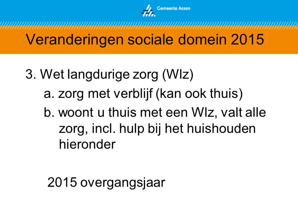 Veranderingen sociale domein 2015 3. Wet langdurige zorg (Wlz) a.