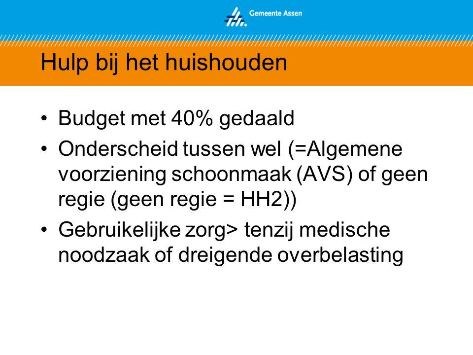 Hulp bij het huishouden Budget met 40% gedaald Onderscheid tussen wel (=Algemene voorziening schoonmaak (AVS) of geen regie (geen regie = HH2)) Gebruikelijke zorg> tenzij medische noodzaak of dreigende overbelasting