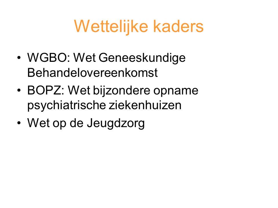 Wettelijke kaders WGBO: Wet Geneeskundige Behandelovereenkomst BOPZ: Wet bijzondere opname psychiatrische ziekenhuizen Wet op de Jeugdzorg