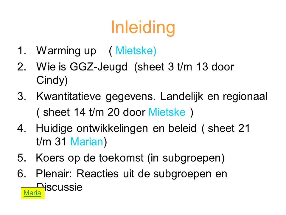 Inleiding 1.Warming up ( Mietske) 2.Wie is GGZ-Jeugd (sheet 3 t/m 13 door Cindy) 3.Kwantitatieve gegevens.