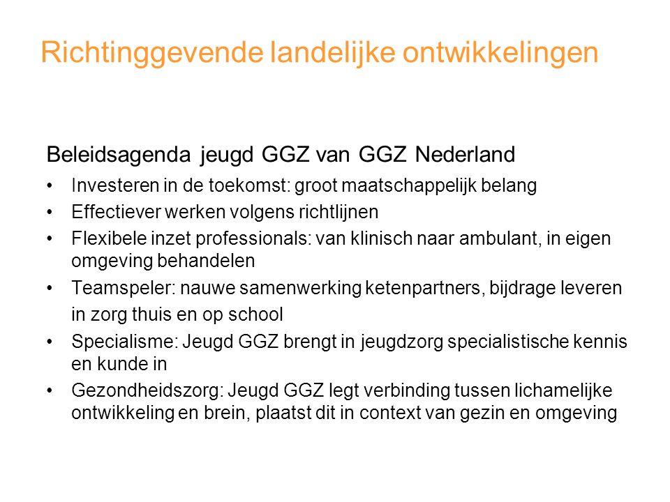 Richtinggevende landelijke ontwikkelingen Beleidsagenda jeugd GGZ van GGZ Nederland Investeren in de toekomst: groot maatschappelijk belang Effectiever werken volgens richtlijnen Flexibele inzet professionals: van klinisch naar ambulant, in eigen omgeving behandelen Teamspeler: nauwe samenwerking ketenpartners, bijdrage leveren in zorg thuis en op school Specialisme: Jeugd GGZ brengt in jeugdzorg specialistische kennis en kunde in Gezondheidszorg: Jeugd GGZ legt verbinding tussen lichamelijke ontwikkeling en brein, plaatst dit in context van gezin en omgeving