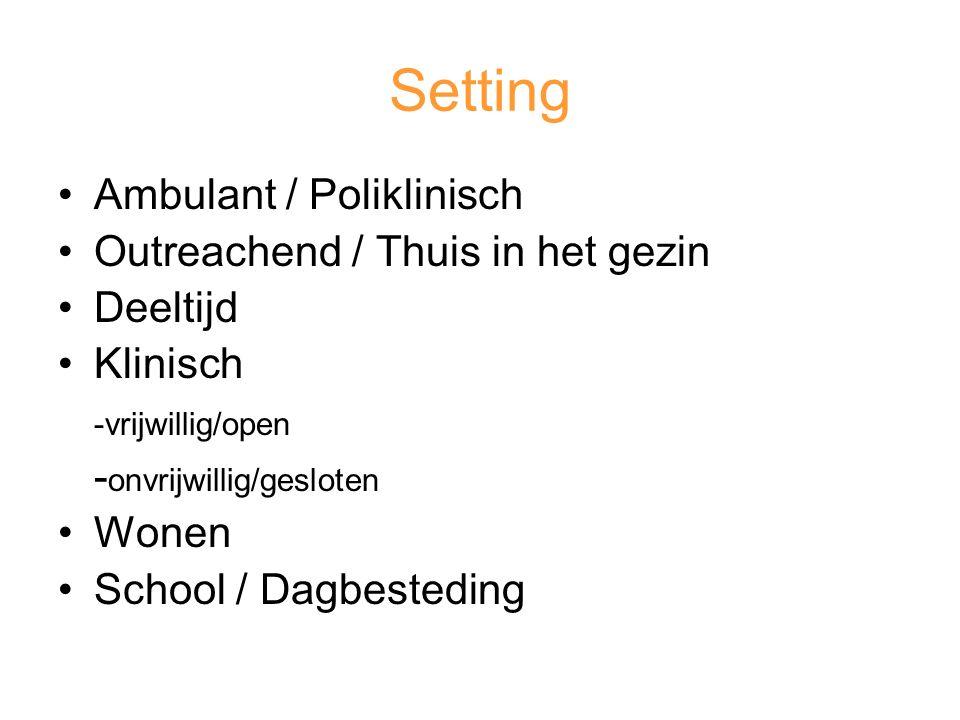 Setting Ambulant / Poliklinisch Outreachend / Thuis in het gezin Deeltijd Klinisch -vrijwillig/open - onvrijwillig/gesloten Wonen School / Dagbesteding