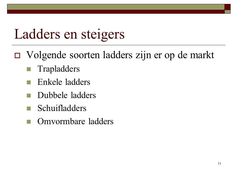 11 Ladders en steigers  Volgende soorten ladders zijn er op de markt Trapladders Enkele ladders Dubbele ladders Schuifladders Omvormbare ladders