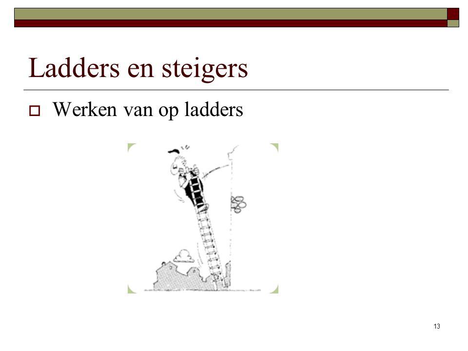 13 Ladders en steigers  Werken van op ladders