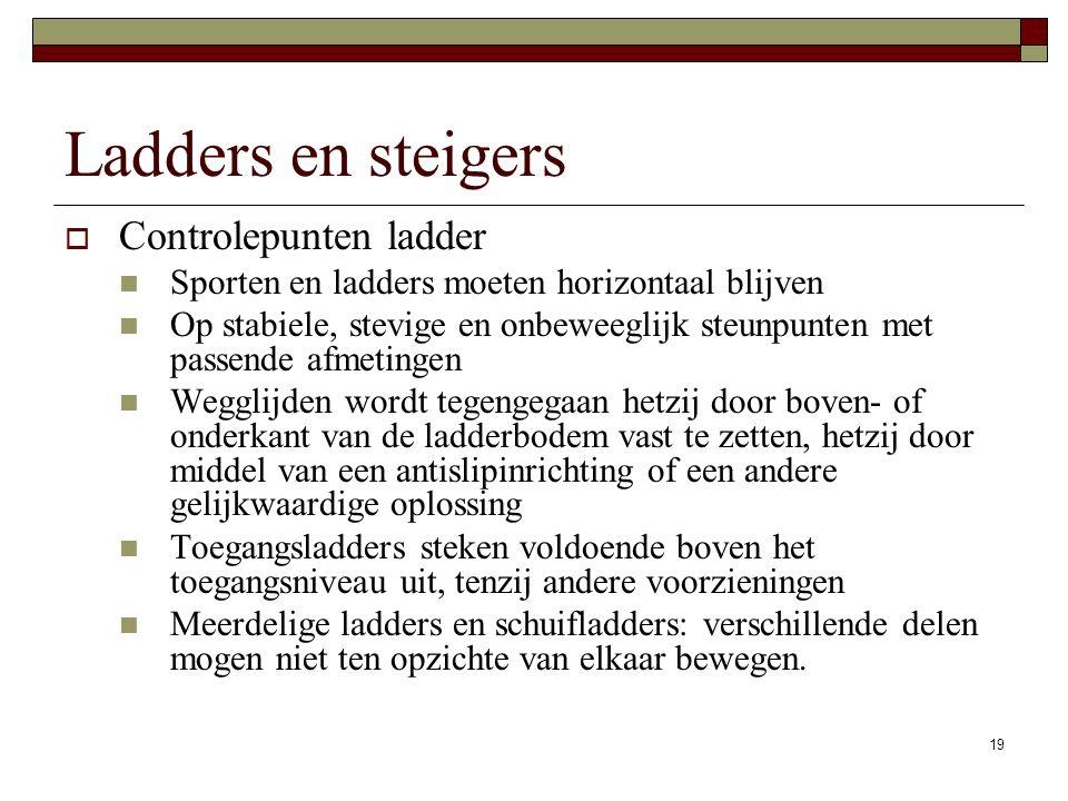 19 Ladders en steigers  Controlepunten ladder Sporten en ladders moeten horizontaal blijven Op stabiele, stevige en onbeweeglijk steunpunten met passende afmetingen Wegglijden wordt tegengegaan hetzij door boven- of onderkant van de ladderbodem vast te zetten, hetzij door middel van een antislipinrichting of een andere gelijkwaardige oplossing Toegangsladders steken voldoende boven het toegangsniveau uit, tenzij andere voorzieningen Meerdelige ladders en schuifladders: verschillende delen mogen niet ten opzichte van elkaar bewegen.