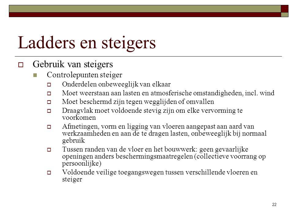 22 Ladders en steigers  Gebruik van steigers Controlepunten steiger  Onderdelen onbeweeglijk van elkaar  Moet weerstaan aan lasten en atmosferische omstandigheden, incl.