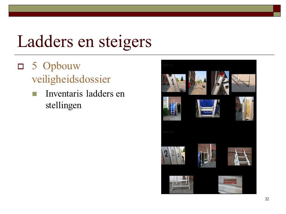 32 Ladders en steigers  5 Opbouw veiligheidsdossier Inventaris ladders en stellingen