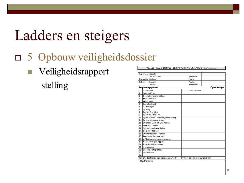 34 Ladders en steigers  5 Opbouw veiligheidsdossier Veiligheidsrapport stelling