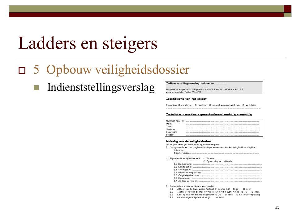 35 Ladders en steigers  5 Opbouw veiligheidsdossier Indienststellingsverslag