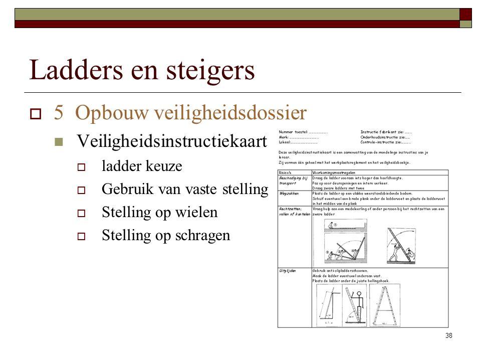 38 Ladders en steigers  5 Opbouw veiligheidsdossier Veiligheidsinstructiekaart  ladder keuze  Gebruik van vaste stelling  Stelling op wielen  Stelling op schragen
