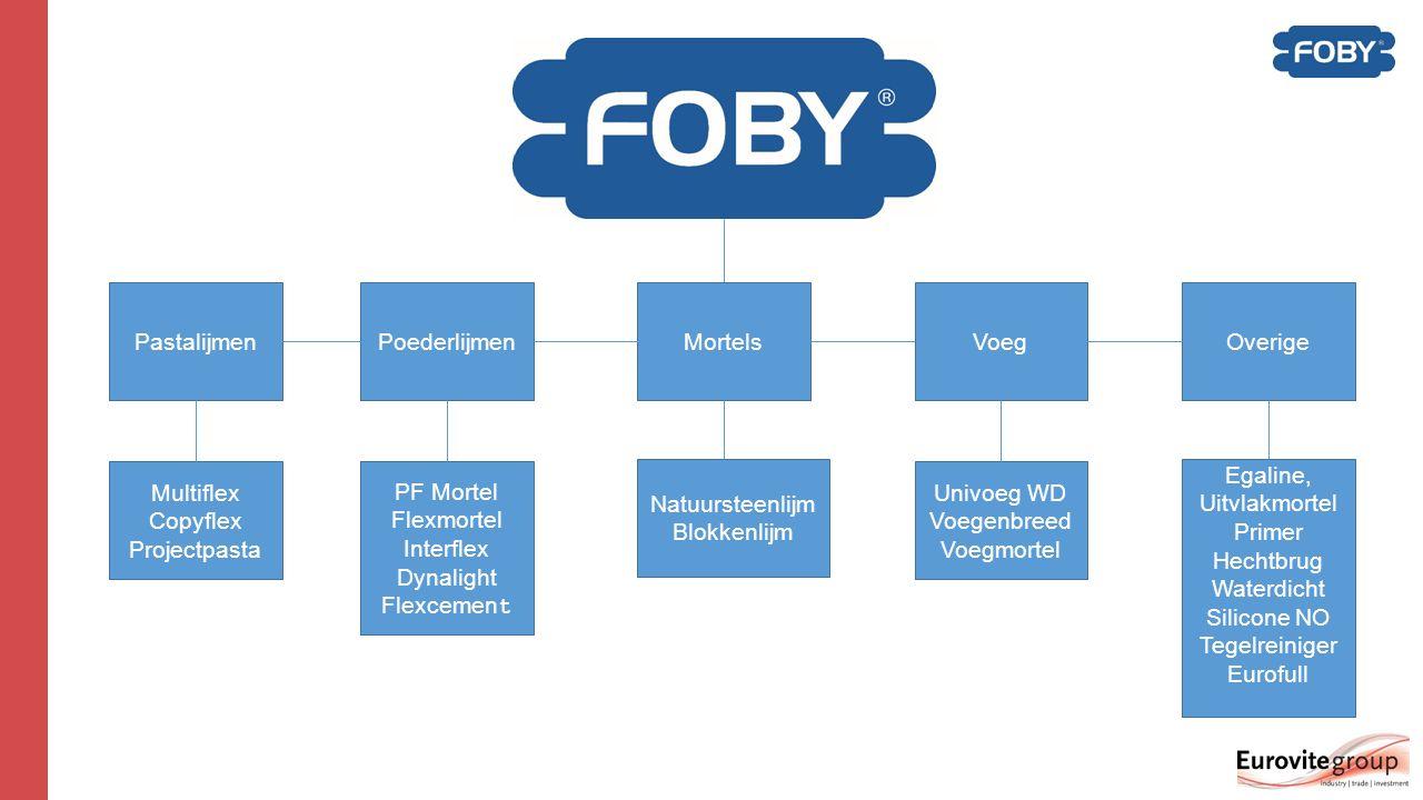 Foby – 1 compleet pakket  1 compleet aanbod voor elke professionele klus, voor elke tegel van mozaïek tot grootformaat, voor elke situatie van keuken tot badkamer en voor elke ondergrond van beton tot granito.
