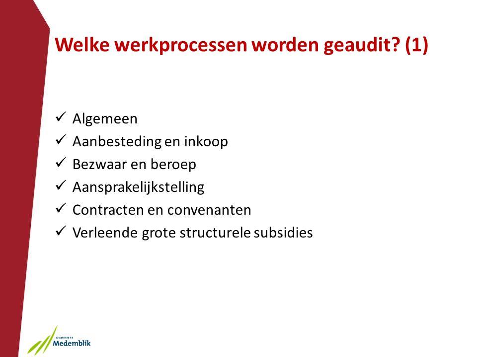 Welke werkprocessen worden geaudit? (1) Algemeen Aanbesteding en inkoop Bezwaar en beroep Aansprakelijkstelling Contracten en convenanten Verleende gr