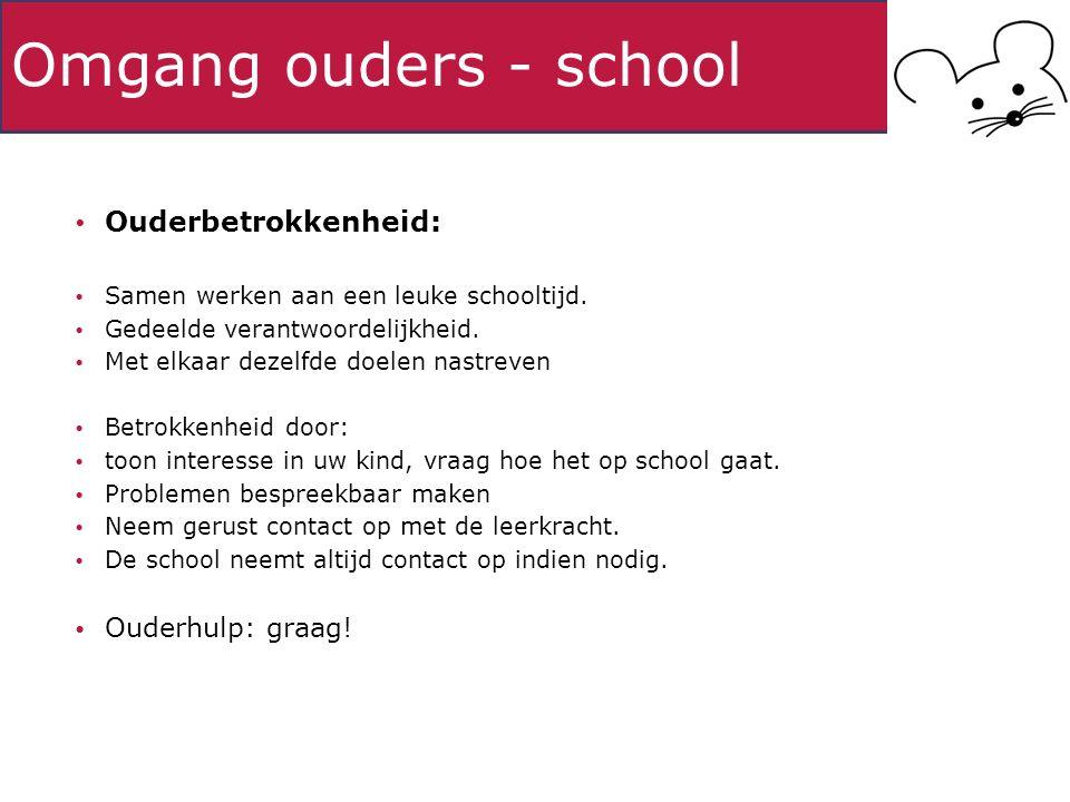 Omgang ouders - school Ouderbetrokkenheid: Samen werken aan een leuke schooltijd.
