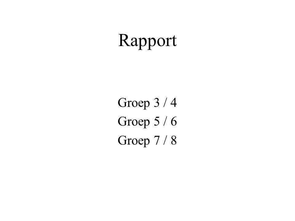 Rapport Groep 3 / 4 Groep 5 / 6 Groep 7 / 8