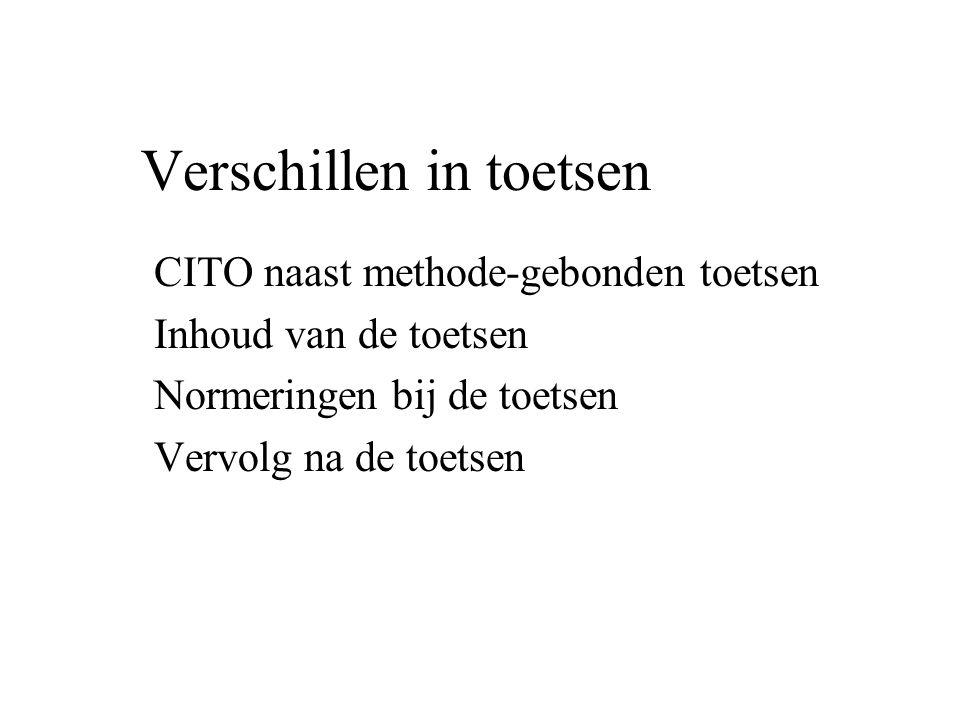 Verschillen in toetsen CITO naast methode-gebonden toetsen Inhoud van de toetsen Normeringen bij de toetsen Vervolg na de toetsen