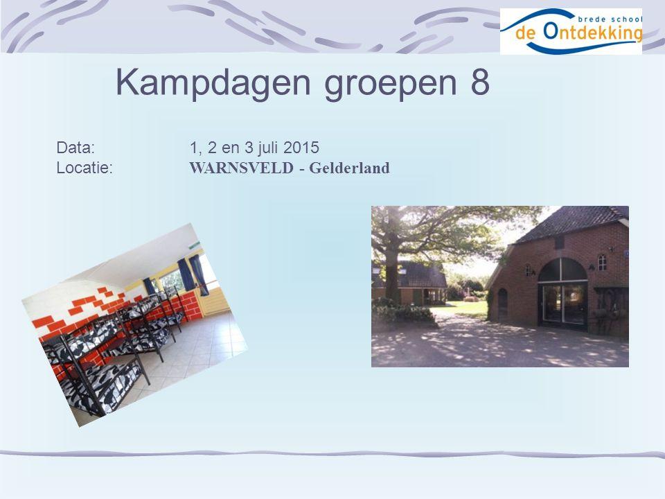 Kampdagen groepen 8 Data:1, 2 en 3 juli 2015 Locatie: WARNSVELD - Gelderland