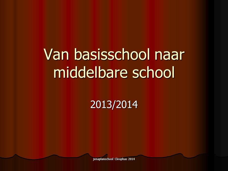 jenaplanschool Cleophas 2014 Van basisschool naar middelbare school 2013/2014