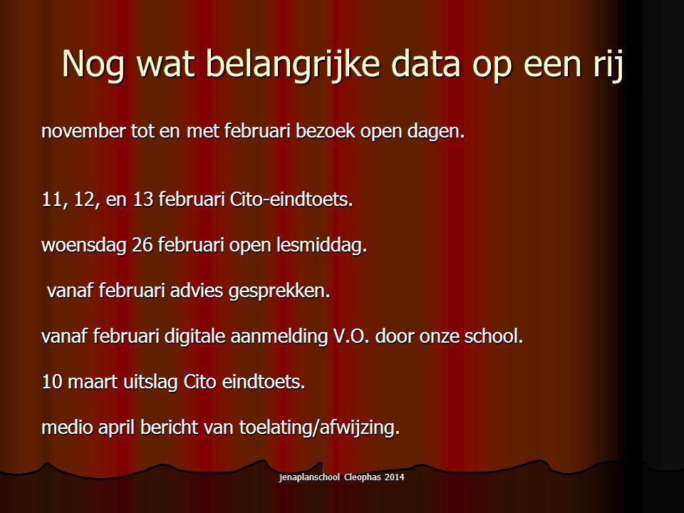 jenaplanschool Cleophas 2014 Nog wat belangrijke data op een rij november tot en met februari bezoek open dagen.