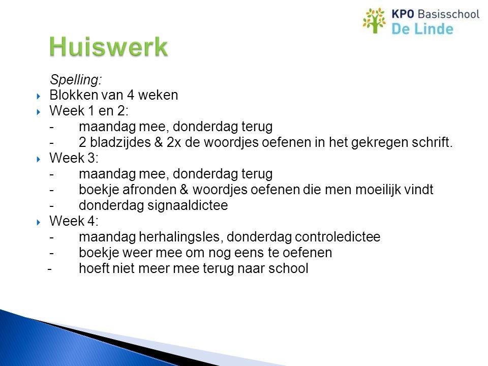 Spelling:  Blokken van 4 weken  Week 1 en 2: -maandag mee, donderdag terug -2 bladzijdes & 2x de woordjes oefenen in het gekregen schrift.