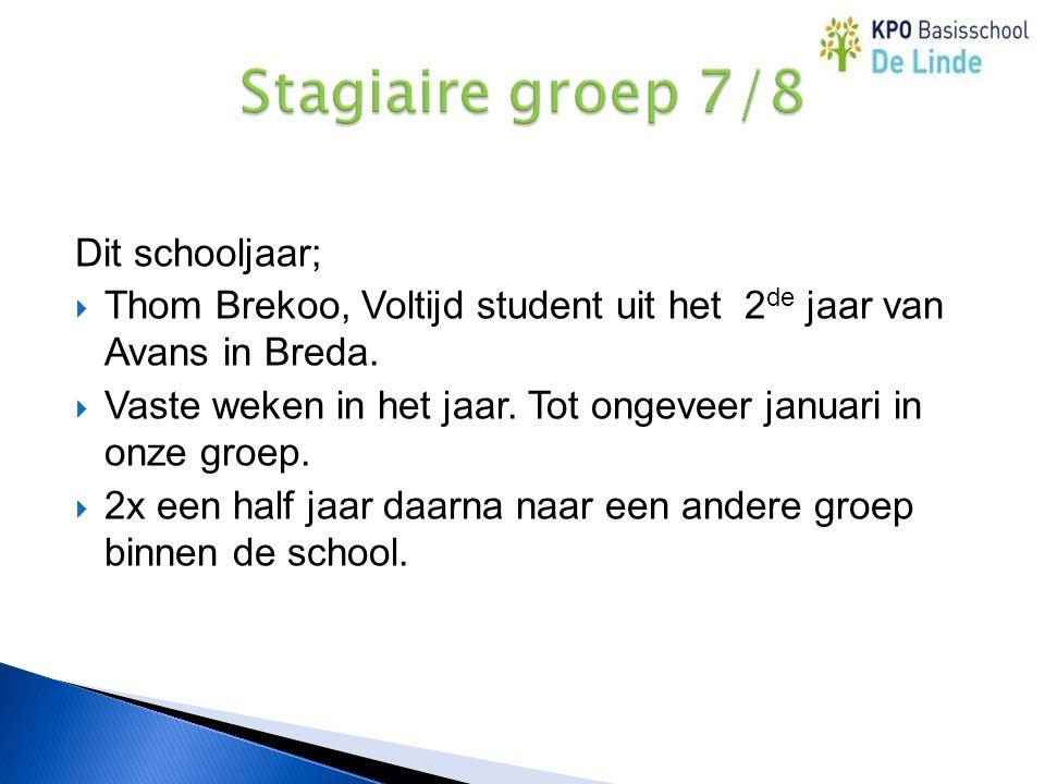 Dit schooljaar;  Thom Brekoo, Voltijd student uit het 2 de jaar van Avans in Breda.