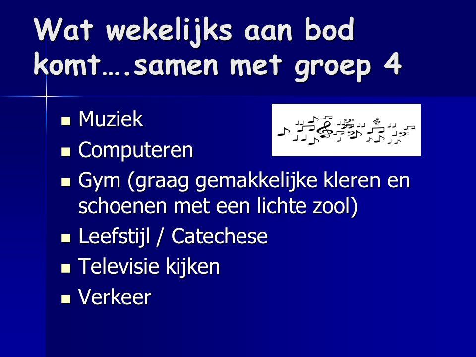 Wat wekelijks aan bod komt….samen met groep 4 Muziek Muziek Computeren Computeren Gym (graag gemakkelijke kleren en schoenen met een lichte zool) Gym