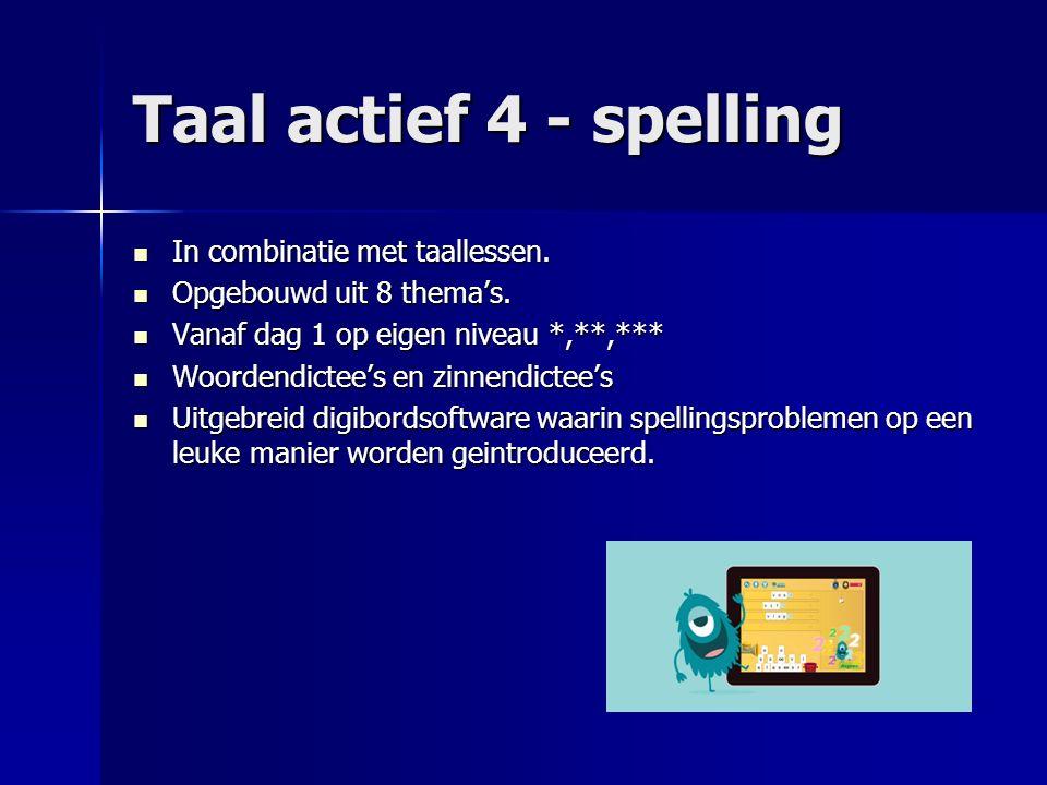 Taal actief 4 - spelling In combinatie met taallessen. In combinatie met taallessen. Opgebouwd uit 8 thema's. Opgebouwd uit 8 thema's. Vanaf dag 1 op
