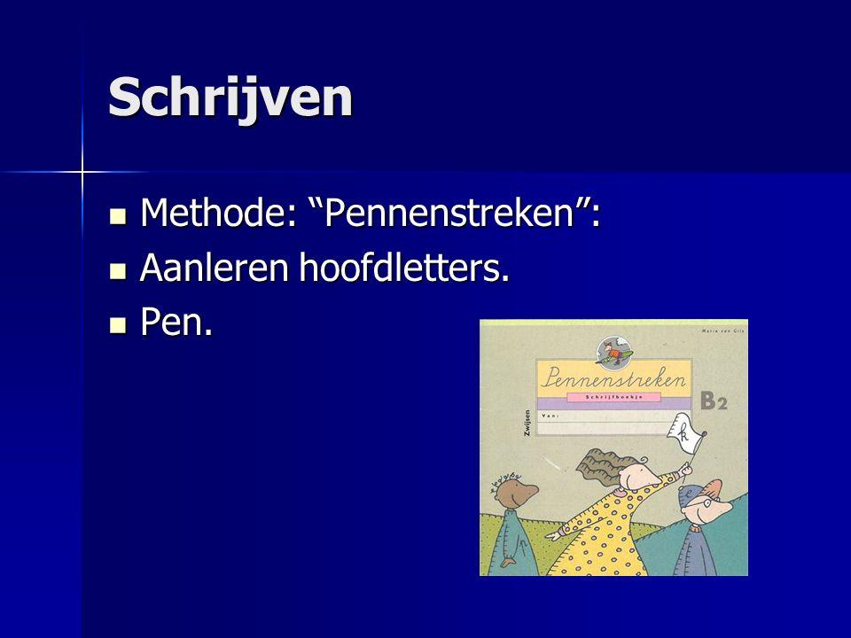 """Schrijven Methode: """"Pennenstreken"""": Methode: """"Pennenstreken"""": Aanleren hoofdletters. Aanleren hoofdletters. Pen. Pen."""