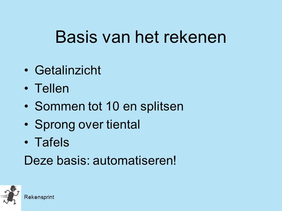 Rekensprint Basis van het rekenen Getalinzicht Tellen Sommen tot 10 en splitsen Sprong over tiental Tafels Deze basis: automatiseren!