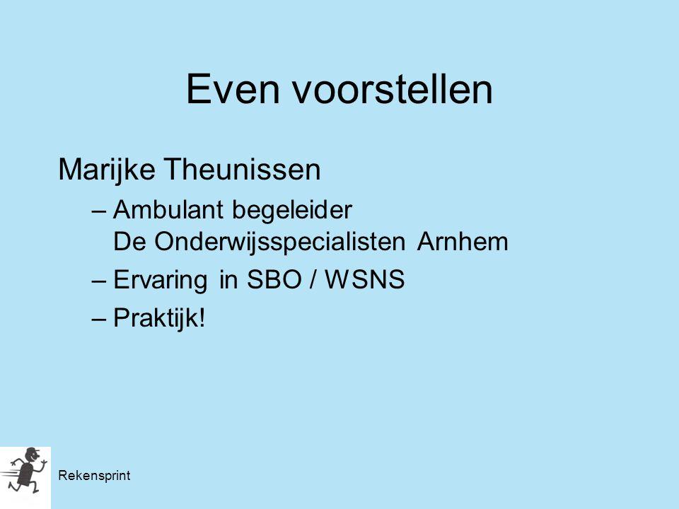 Marijke Theunissen –Ambulant begeleider De Onderwijsspecialisten Arnhem –Ervaring in SBO / WSNS –Praktijk! Even voorstellen