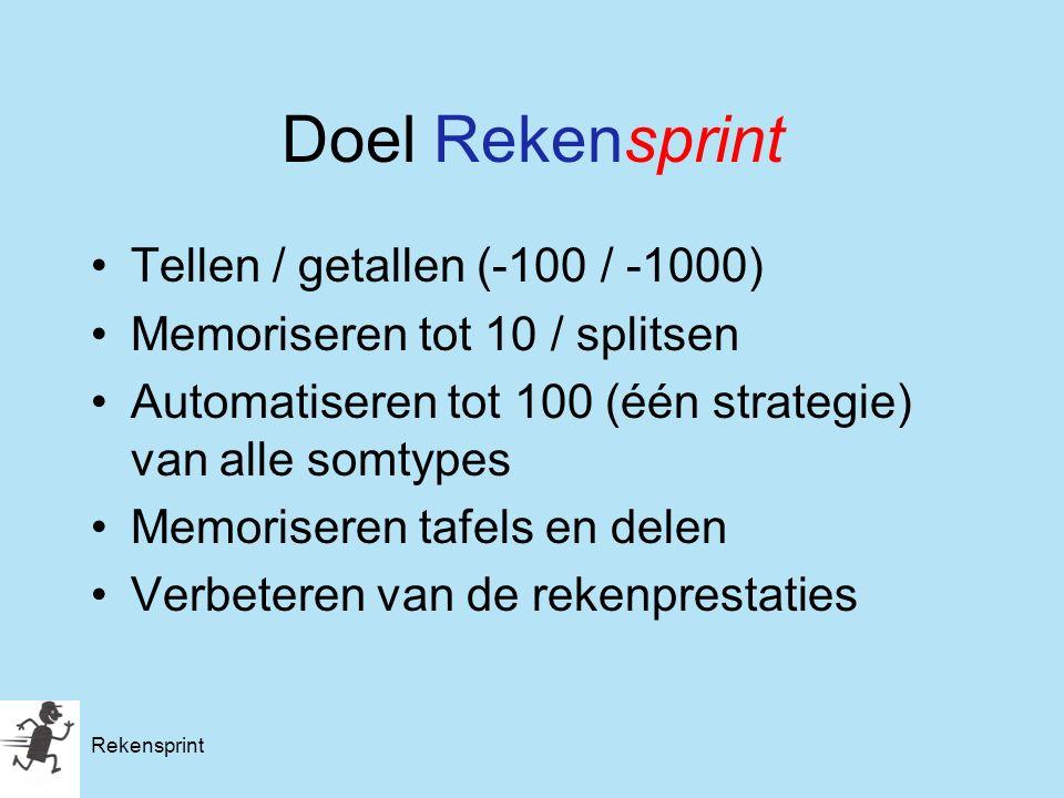 Rekensprint Doel Rekensprint Tellen / getallen (-100 / -1000) Memoriseren tot 10 / splitsen Automatiseren tot 100 (één strategie) van alle somtypes Me