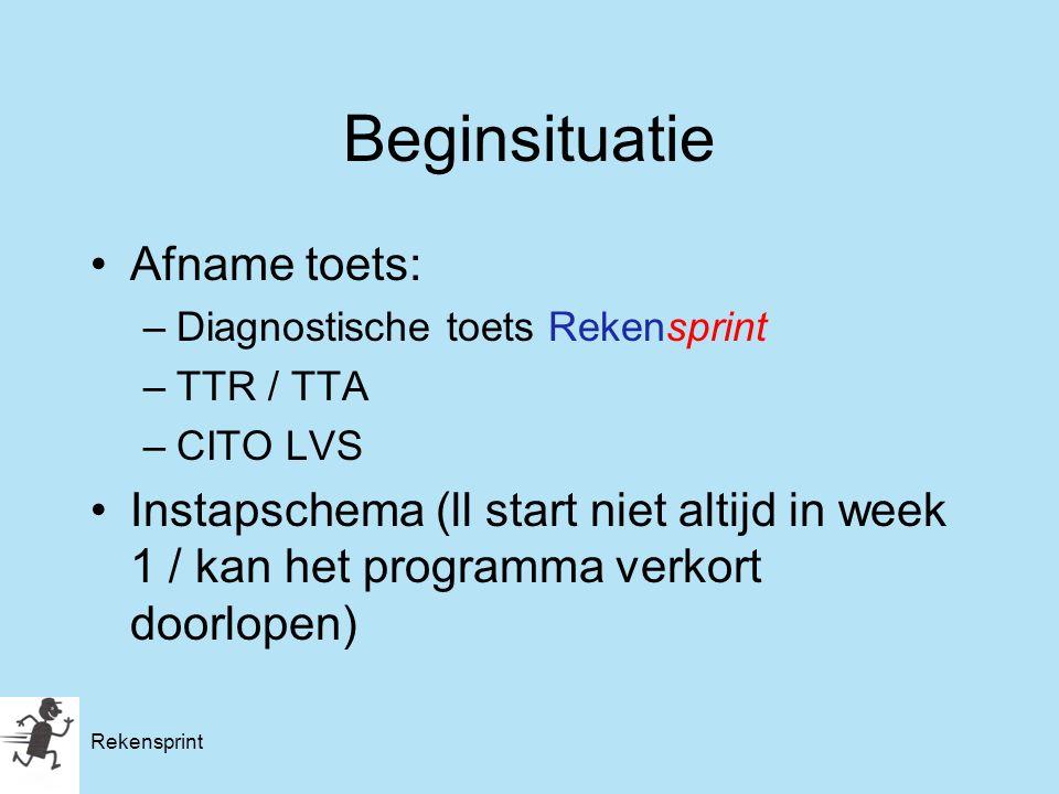 Rekensprint Beginsituatie Afname toets: –Diagnostische toets Rekensprint –TTR / TTA –CITO LVS Instapschema (ll start niet altijd in week 1 / kan het p