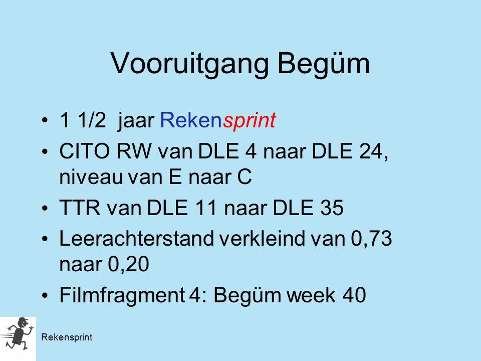 Rekensprint Vooruitgang Begüm 1 1/2 jaar Rekensprint CITO RW van DLE 4 naar DLE 24, niveau van E naar C TTR van DLE 11 naar DLE 35 Leerachterstand ver