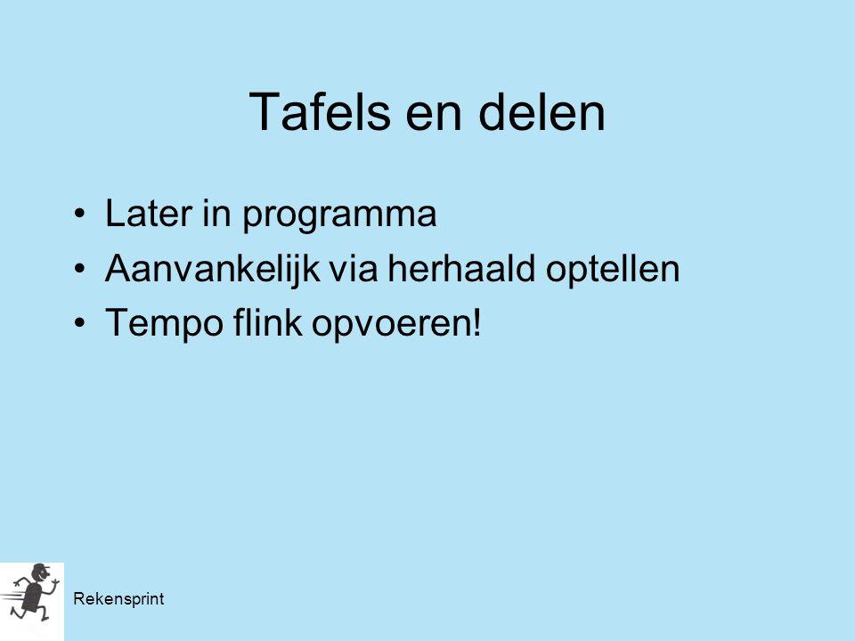 Rekensprint Tafels en delen Later in programma Aanvankelijk via herhaald optellen Tempo flink opvoeren!