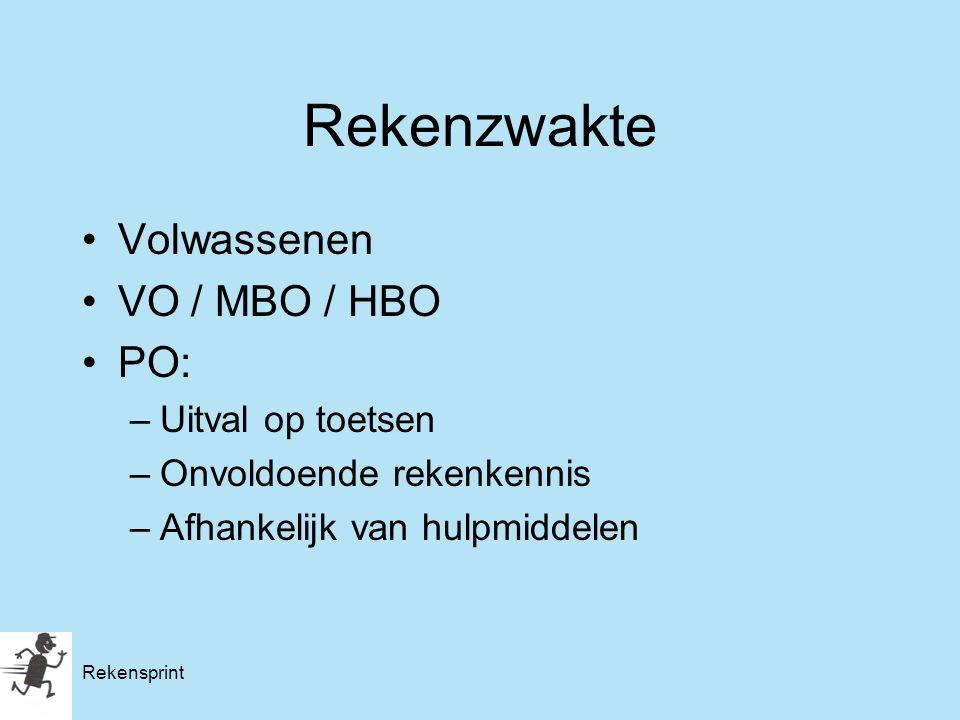 Rekenzwakte Volwassenen VO / MBO / HBO PO: –Uitval op toetsen –Onvoldoende rekenkennis –Afhankelijk van hulpmiddelen