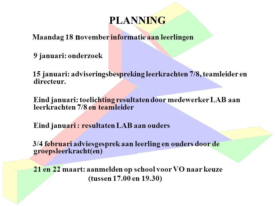 PLANNING Maandag 18 n ovember informatie aan leerlingen 9 januari: onderzoek 15 januari: adviseringsbespreking leerkrachten 7/8, teamleider en directeur.