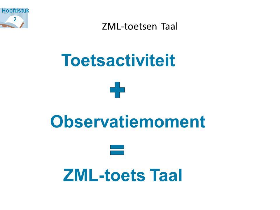 ZML-toetsen Taal Observatiemoment Toetsactiviteit ZML-toets Taal 2 Hoofdstuk