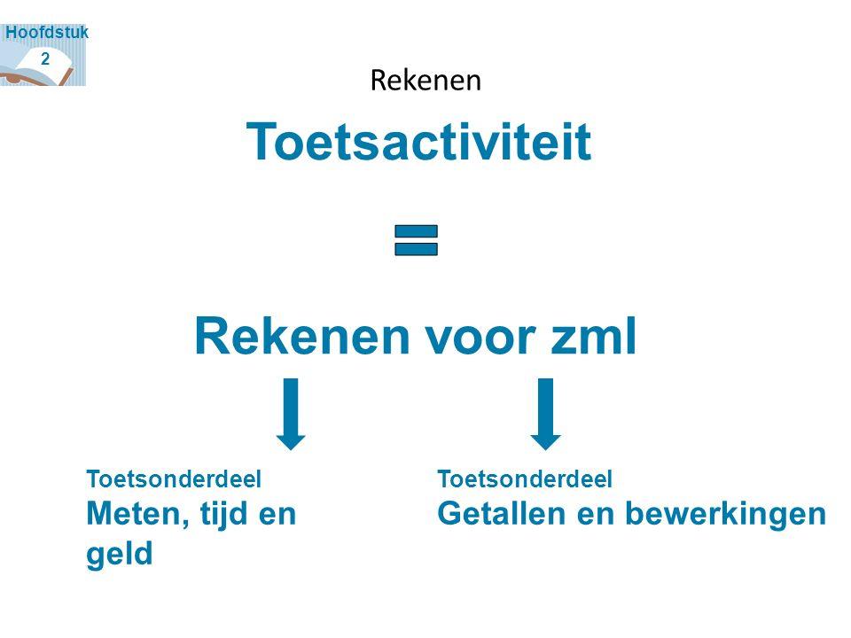 Rekenen Toetsactiviteit Rekenen voor zml 2 Hoofdstuk Toetsonderdeel Meten, tijd en geld Toetsonderdeel Getallen en bewerkingen