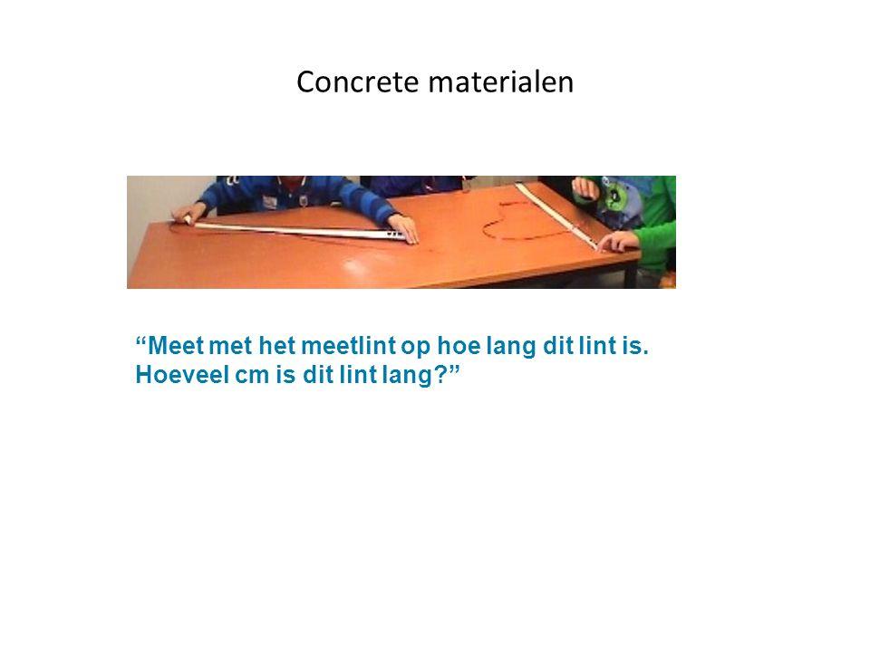 Concrete materialen Meet met het meetlint op hoe lang dit lint is. Hoeveel cm is dit lint lang