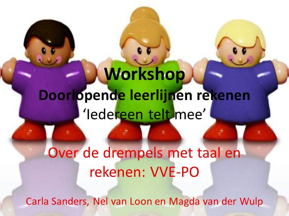 Workshop Doorlopende leerlijnen rekenen 'Iedereen telt mee' Over de drempels met taal en rekenen: VVE-PO Carla Sanders, Nel van Loon en Magda van der Wulp