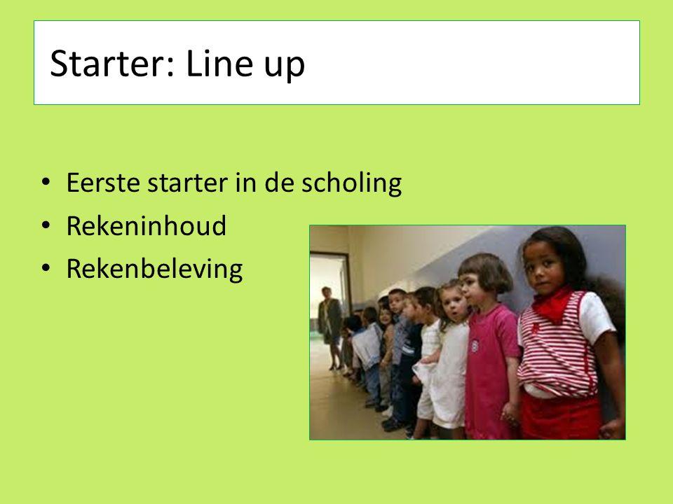 Starter: Line up Eerste starter in de scholing Rekeninhoud Rekenbeleving