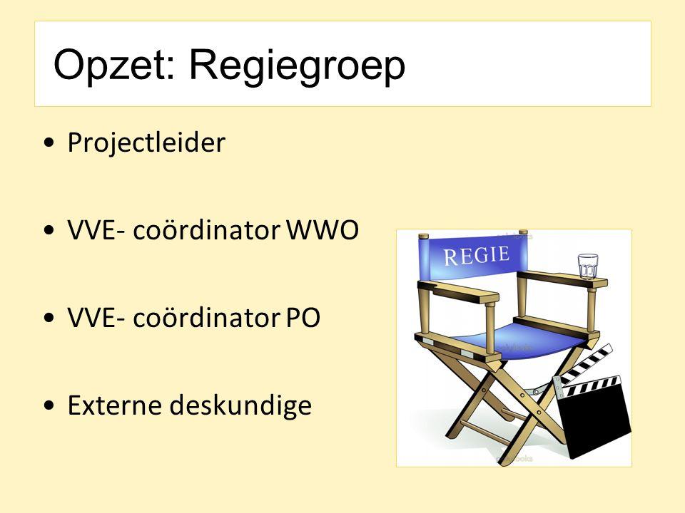 Opzet: Regiegroep Projectleider VVE- coördinator WWO VVE- coördinator PO Externe deskundige
