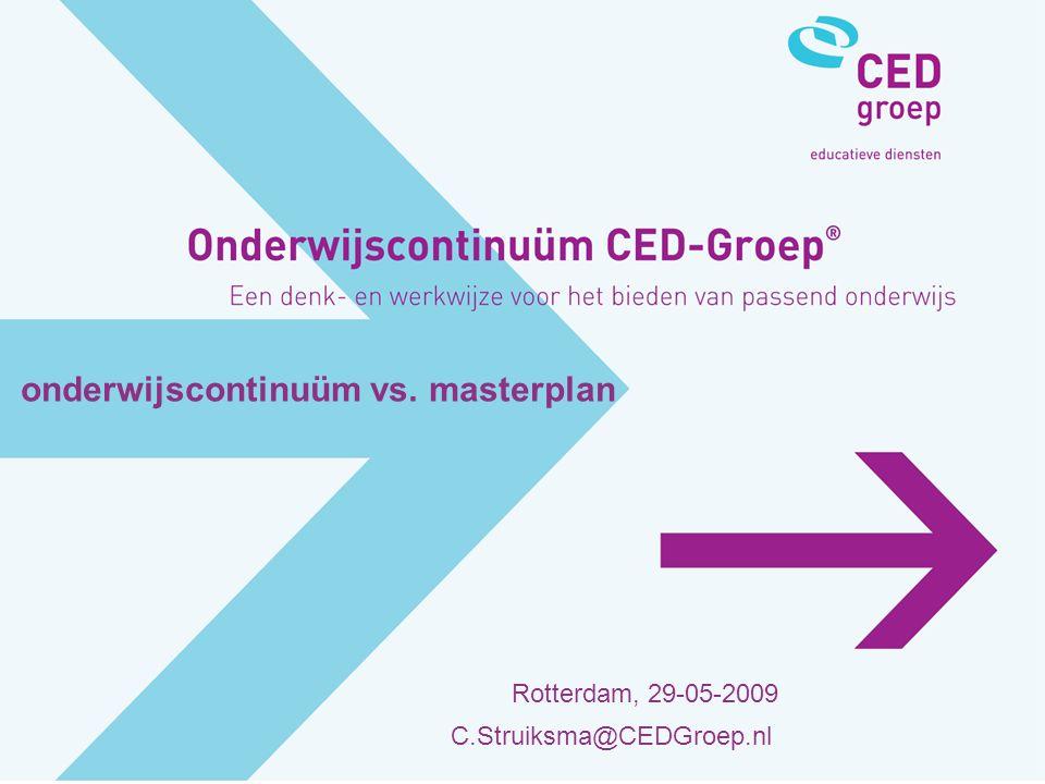 onderwijscontinuüm vs. masterplan Rotterdam, 29-05-2009 C.Struiksma@CEDGroep.nl